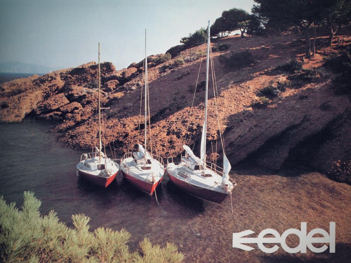 publicité d'époque pour la gamme des bateaux Edel